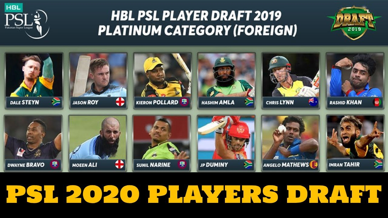 HBL PSL Player Draft 2020 | Platinum Foreign Players Pool for PSL Auction 2020