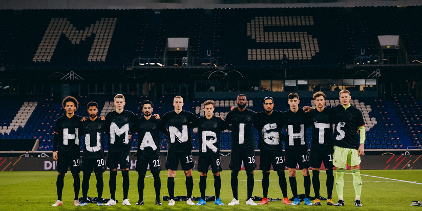 Germany show support for human rights before Iceland game