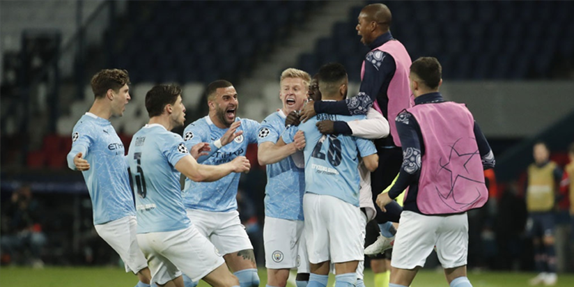 Manchester City fight back to beat 10-man PSG in first leg