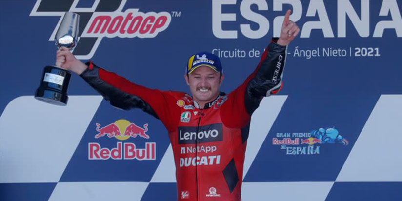 Ducati's Jack Miller edged out team mate Francesco Bagnaia to claim his first MotoGP win in five years at the Spanish Grand Prix in Jerez on Sunday.